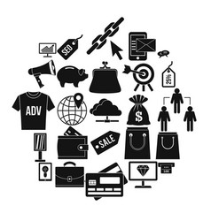 commercially profitable icons set simple style vector image