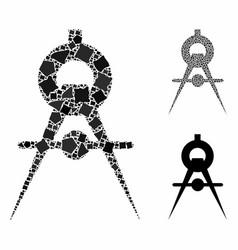 Compasses mosaic icon bumpy parts vector