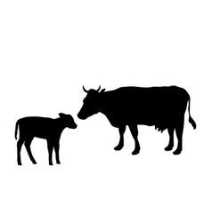 Cow and calf farm mammal black silhouette animal vector
