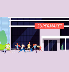 crowd run to supermarket sale discount time big vector image