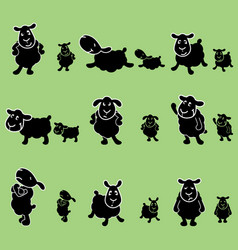 Cute black sheep poses design set vector
