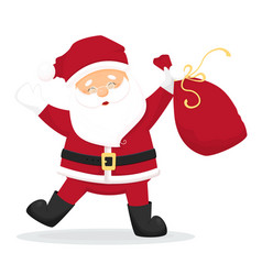 Dancing cartoon santa claus with bag with presents vector