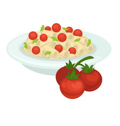 Delicious italian pasta with whole cherry tomatoes vector
