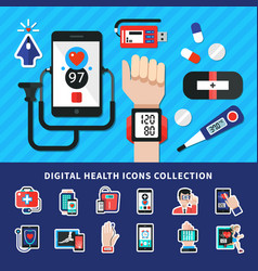 digital healthcare flat icons collection vector image