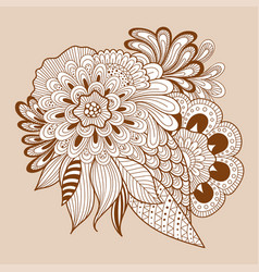 doodle art floral composition henna floral tattoo vector image