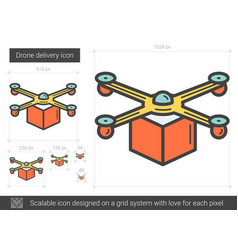 Drone delivery line icon vector