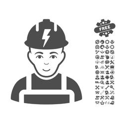 Electrician Icon With Tools Bonus vector image