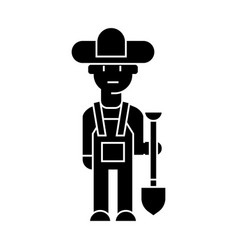 farmer icon sign on isolate vector image