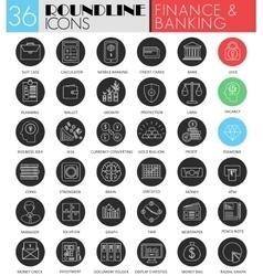 Finance banking circle white black icon set vector
