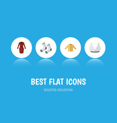 Flat icon clothes set of foot textile clothes vector