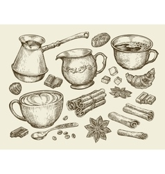 Food tea coffee Hand drawn cup cinnamon anise vector