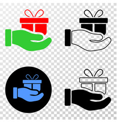gift hand eps icon with contour version vector image