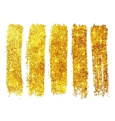 Golden shining glitter polish samples isolated on vector