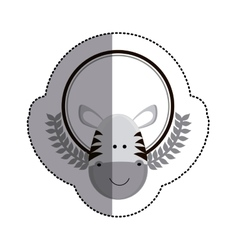 Grayscale sticker circle with zebra head and olive vector