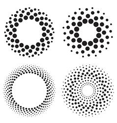 Halftone circles of dots vector