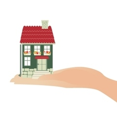 Hand holding house real estate investment concept vector