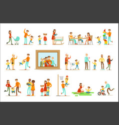 happy family doing things together vector image