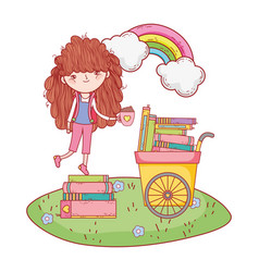 happy little girl reading books with cart in the vector image
