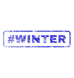 Hashtag winter rubber stamp vector
