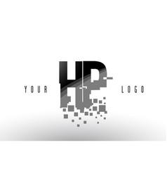 hp h p pixel letter logo with digital shattered vector image