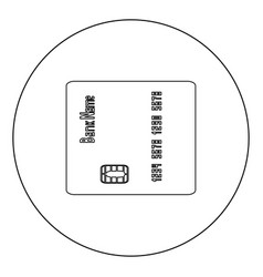 Inserting credit card icon black color in circle vector