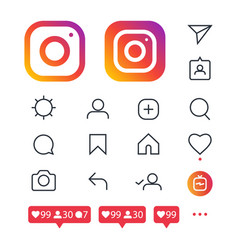 Instagram icon set vector