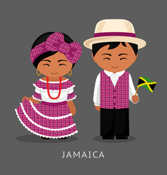 jamaicans in national dress with a flag vector image