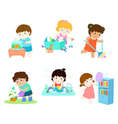 kids do housework set vector image
