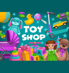 Kids toy shop bakids games girl and boy gifts vector