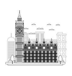 Line london clock tower and nice trees vector