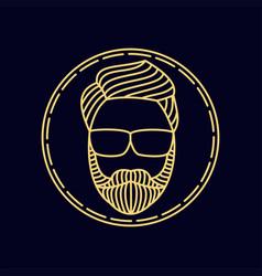 Man beard monoline vector