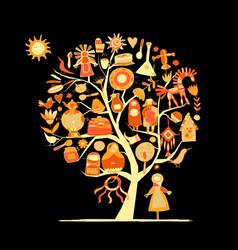 maslenitsa or shrovetide art tree for your design vector image