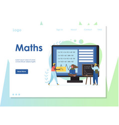 maths website landing page design template vector image