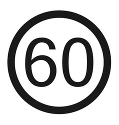 Maximum speed limit 60 sign line icon vector