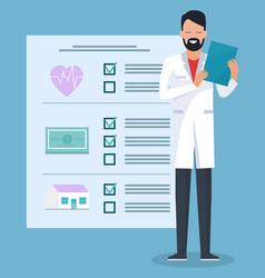 Medical insurance card doctor at hospital clinic vector