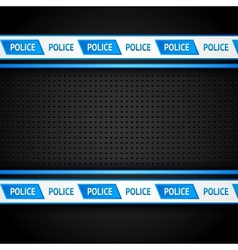Metallic perforated black sheet police background vector image