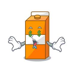 money eye package juice mascot cartoon vector image