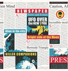 Newspaper seamless pattern on theme ufos vector
