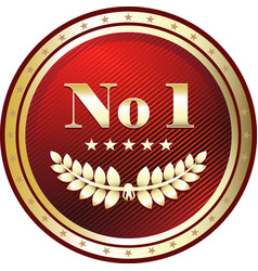 number one gold label vector image