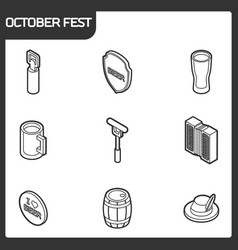 octoberfest outline isometric icons vector image