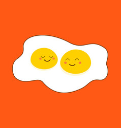 omelette two yolk with cute smiling happy cartoon vector image