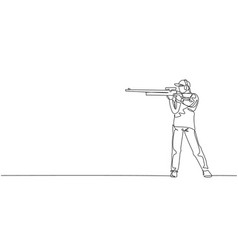 One continuous line drawing young man on shooting vector
