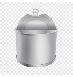 Opened tin can mockup realistic style vector