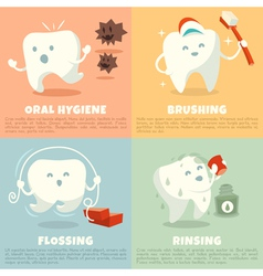 Oral hygiene banners with cute tooth vector image vector image