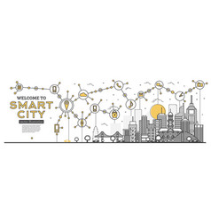 outline smart city skyline panorama networks and vector image