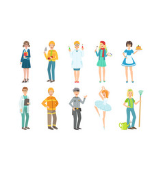 people different professions set teacher vector image