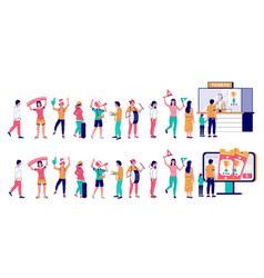 people waiting in line for sport event tickets vector image
