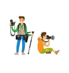 Photographer freelancer men taking pictures vector