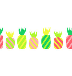pineapples abstract seamless border vector image
