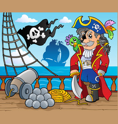 pirate ship deck theme 3 vector image